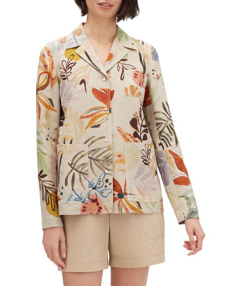 Lafayette 148 New York Jolisa Fiore-Print Button-Front Linen Jacket