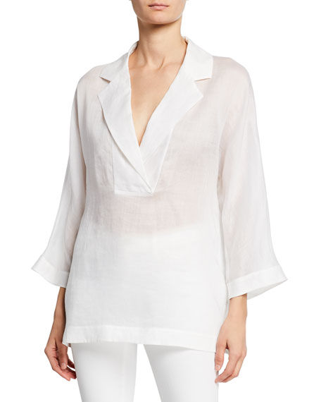 Lafayette 148 Tops JANE NOTCHED COLLAR 3/4-SLEEVE GEMMA CLOTH BLOUSE