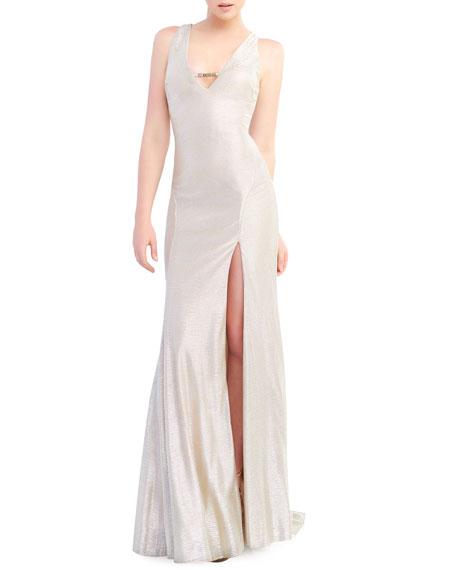 Ieena for Mac Duggal Metallic V-Neck Sleeveless Bodycon Gown