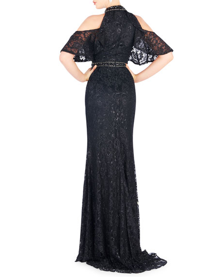 Mac Duggal Cold Shoulder Halter Lace Gown with Beaded Neck & Waistband