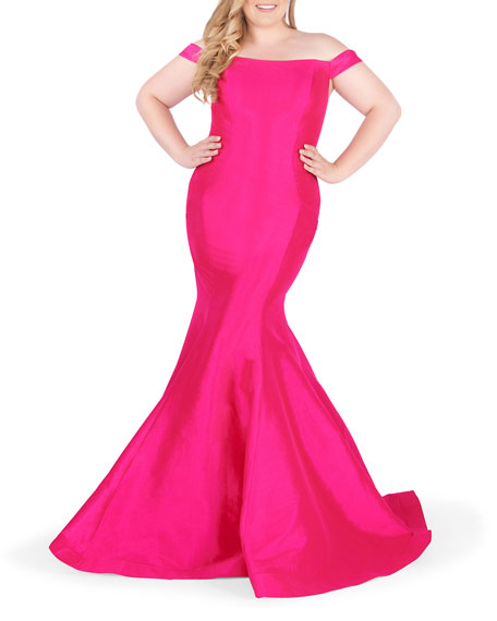 Mac Duggal Plus Size Off-the-Shoulder Short-Sleeve Trumpet Gown
