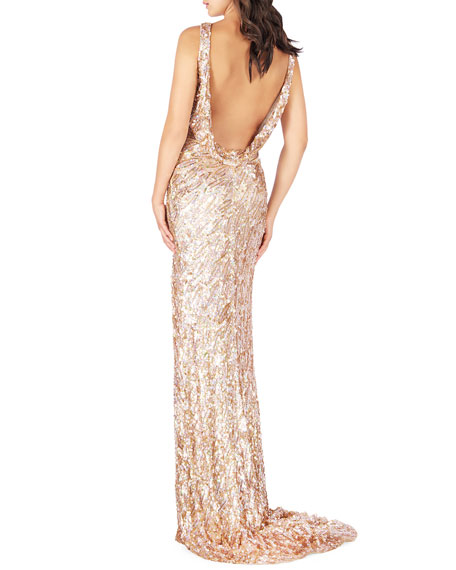 Mac Duggal Sequin Halter Keyhole-Neck Gown with Cowl Back