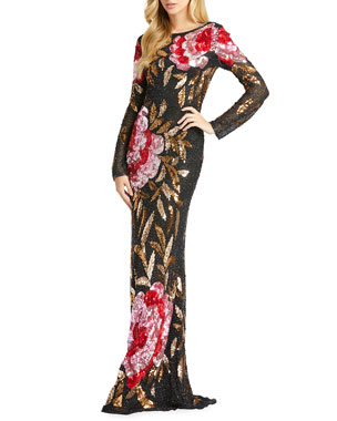 52ad99eddff Mac Duggal Floral Sequin Long-Sleeve Column Gown