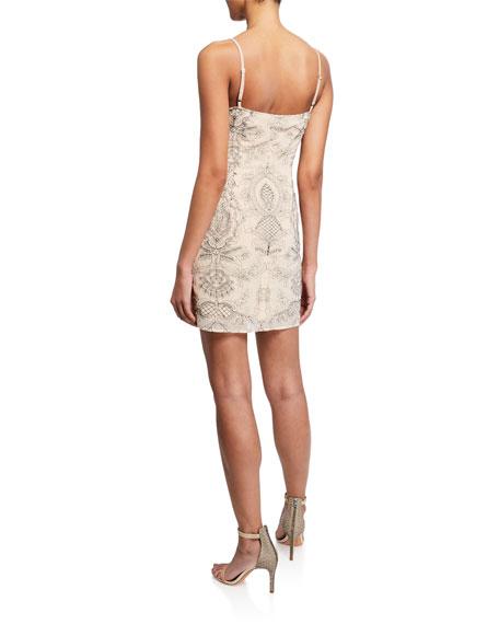 Donna Mizani Stella Printed Square-Neck Spaghetti-Strap Mini Dress