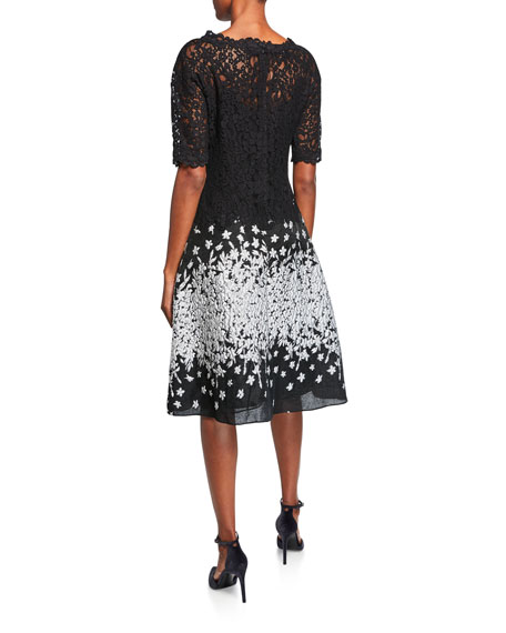 Rickie Freeman for Teri Jon Elbow-Sleeve Cocktail Dress with Lace Top & Metallic Skirt