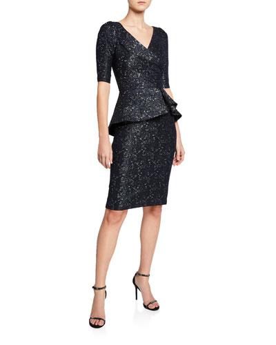 V-Neck Elbow-Sleeve Stretch Jacquard Peplum Dress
