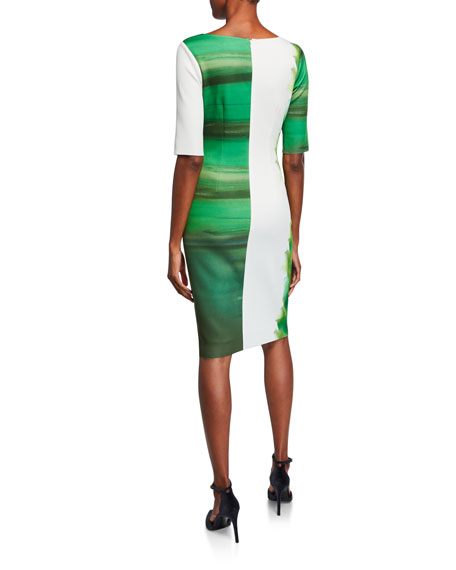 Rickie Freeman for Teri Jon Border-Print Bateau-Neck Elbow-Sleeve Scuba Dress