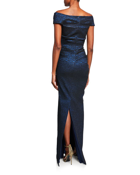 Rickie Freeman for Teri Jon Off-the-Shoulder Draped Jacquard Gown