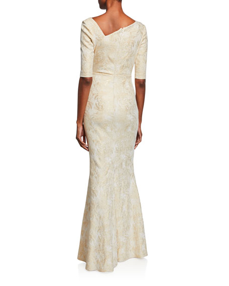 Rickie Freeman for Teri Jon Draped Jacquard Half-Sleeve Gown