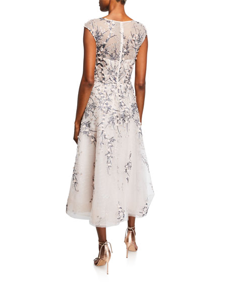 Rickie Freeman for Teri Jon Bateau-Neck Cap-Sleeve 3D Floral Embroidered Tulle Dress