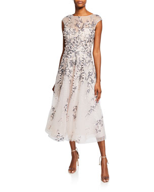2a12767bdfd Rickie Freeman for Teri Jon Bateau-Neck Cap-Sleeve 3D Floral Embroidered  Tulle Dress