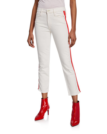 MOTHER The Mid-Rise Dazzler Crop Jeans w/ Side Stripes
