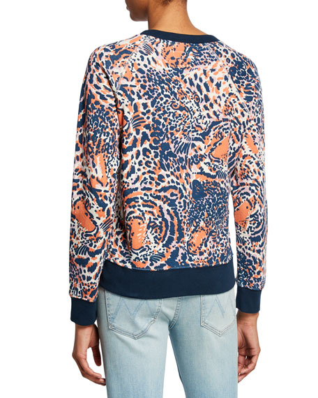 MOTHER The Square Tiger-Print Sweatshirt with Contrast Trim