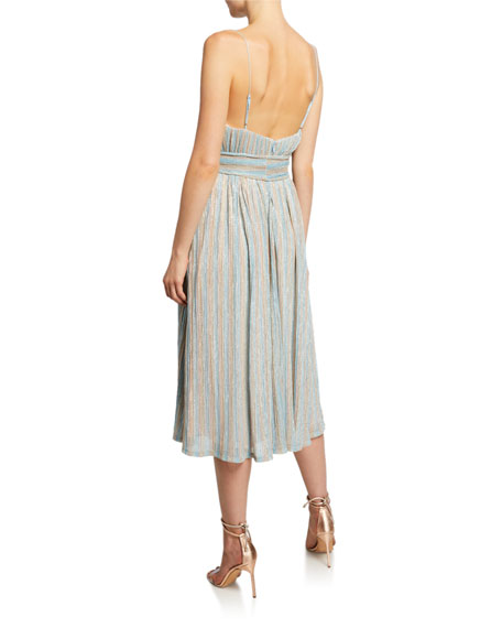 Mestiza New York Alcantara Striped Metallic Dress