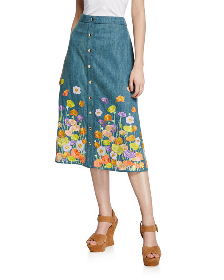 Alice And Olivia TOWNES FLORAL-EMBROIDERED SNAP-FRONT COTTON MIDI SKIRT