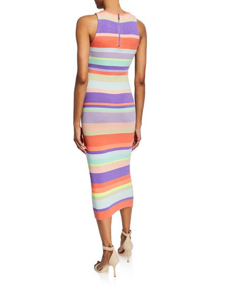 Alice + Olivia Jenner Striped Crewneck Sleeveless Slim Dress