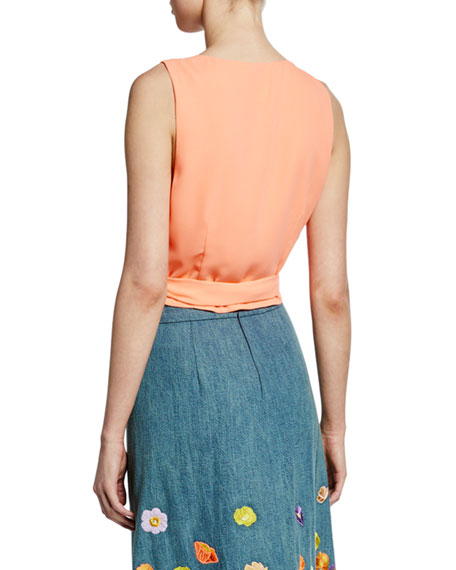Alice + Olivia Azzie Asymmetric Sleeveless Wrap Crop Top