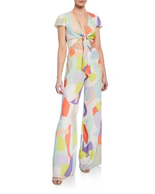 f846ad05658a Alice + Olivia Sierra Geometric-Print Tie-Front Cap-Sleeve Jumpsuit