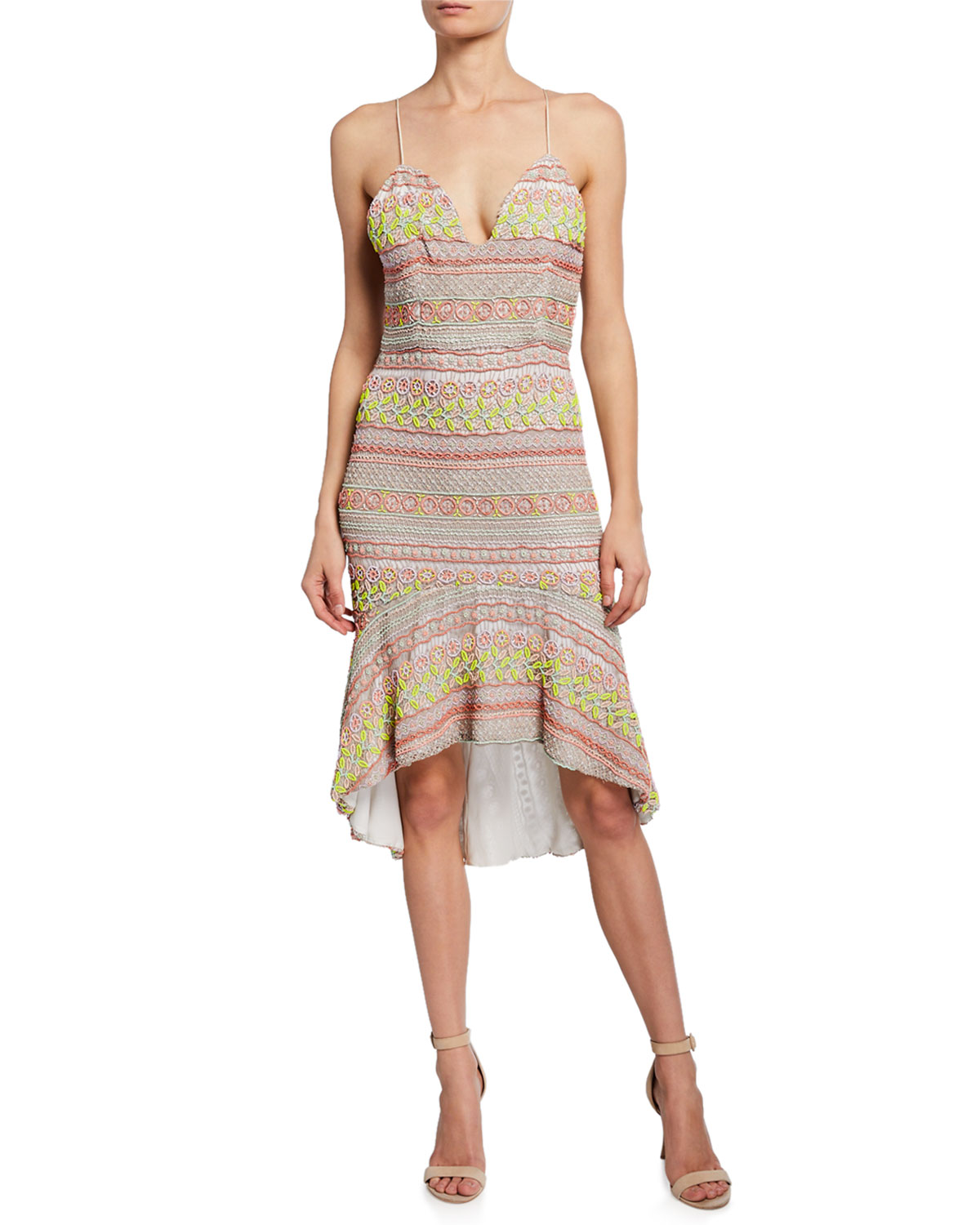 f0daaebb8e448 Alice + Olivia Amina Embroidered Plunging Sweetheart Fitted Dress ...