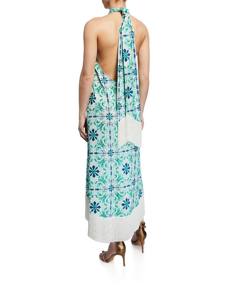 Mestiza New York Pamplona Tile-Print Halter Fringe Midi Dress