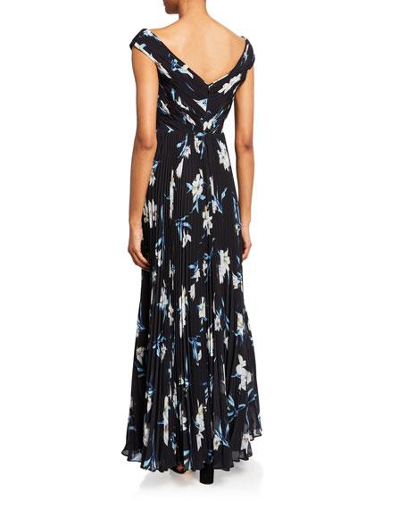 Fame and Partners Floral-Print V-Neck Cap-Sleeve A-Line Dress