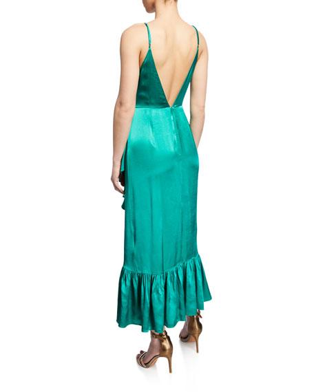 Mestiza New York Giulia Satin Ruffle Wrap Slip Dress