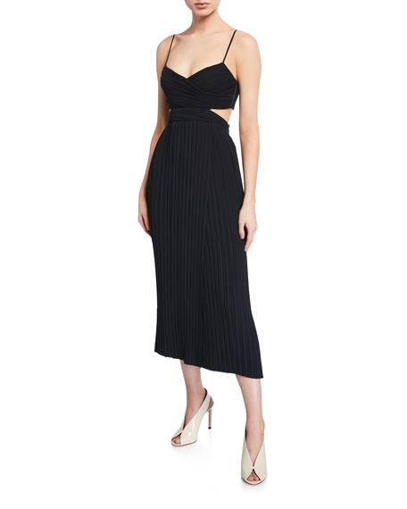A.L.C. Sienna Pleated Cutout Midi Dress