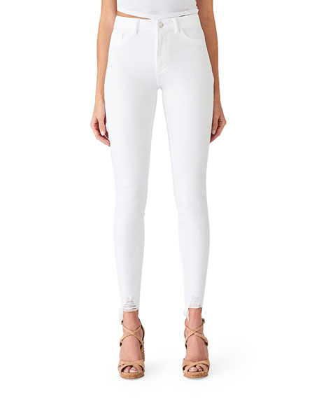 DL1961 Premium Denim Chrissy Ultra High-Rise Skinny Jeans w/ Shredded Hem