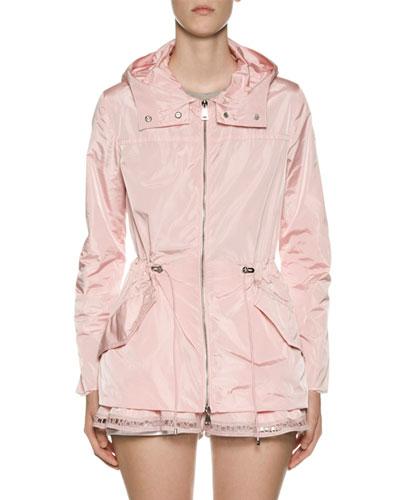 Loty Logo-Trim Peplum Rain Jacket