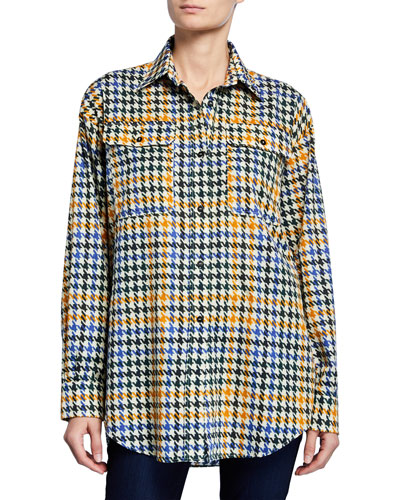 Houndstooth Button-Down Boyfriend Shirt