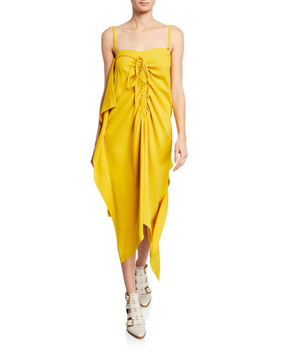 Draped Drawstring Midi Dress w/ Removable Straps