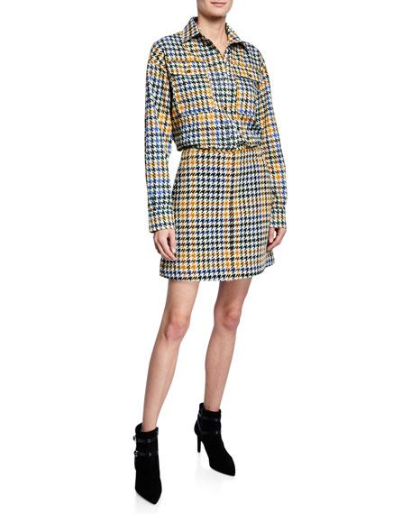 McQ Alexander McQueen Houndstooth Topstitch Mini Skirt