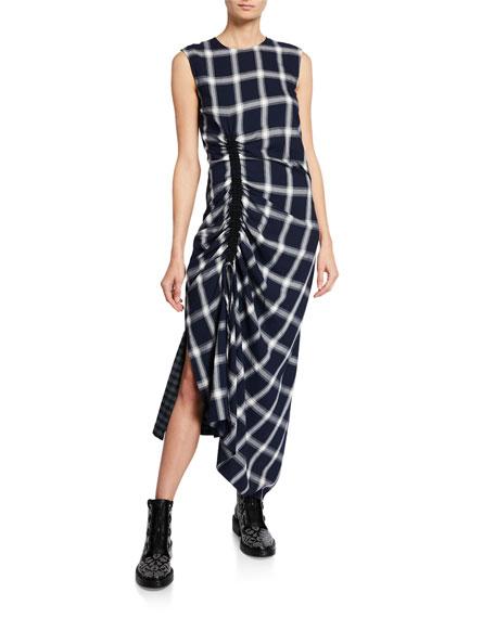 McQ Alexander McQueen Wool-Blend Checked Draped Drawstring Dress