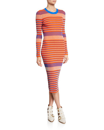 Striped Crewneck Long-Sleeve Dress