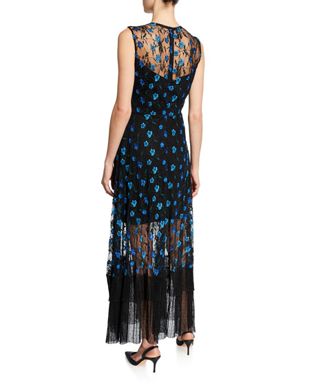 Dress The Population Gina Floral-Embroidered Sleeveless Flounce-Hem Illusion Dress
