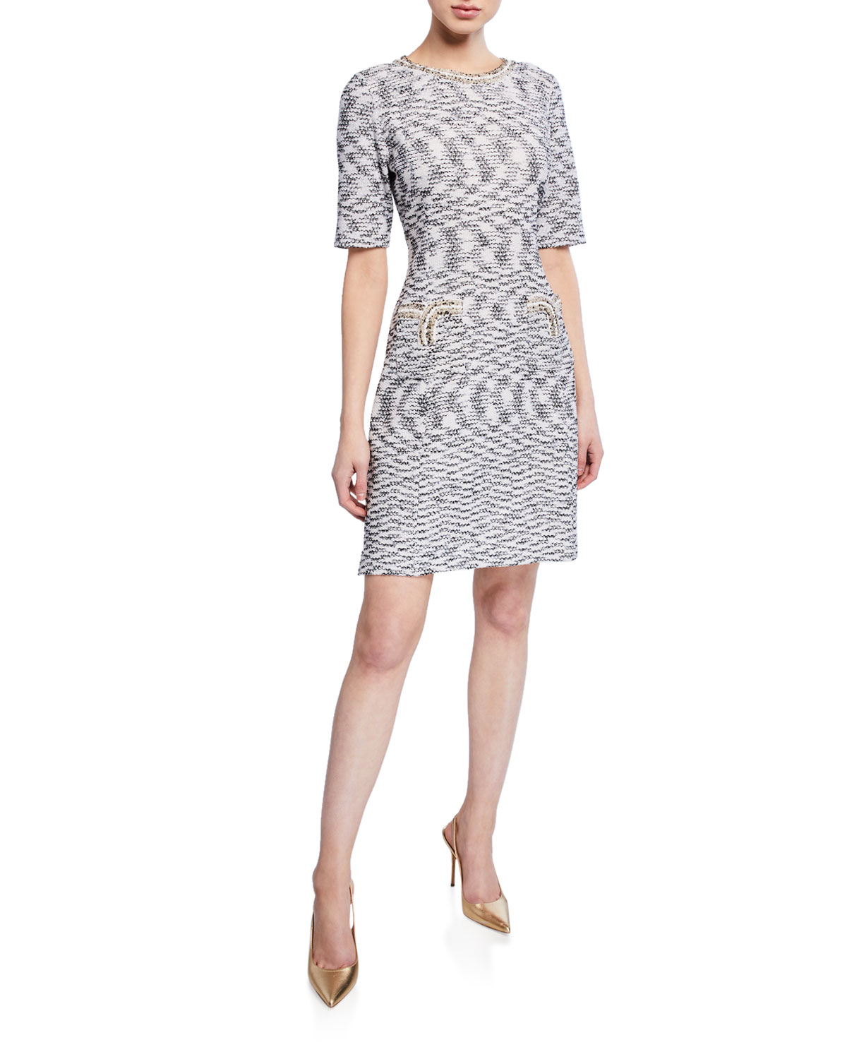 Misook Half Sleeve Tweed Sheath Dress Neiman Marcus