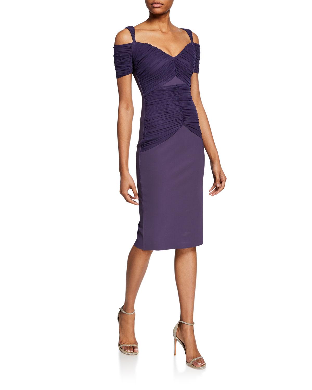 b850d7edb3d Chiara Boni La Petite Robe Bertuccia Ruched Sweetheart Cold-Shoulder Dress