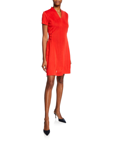 Misook Short-Sleeve Dress w/ Lace-Up Sides