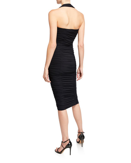 Chiara Boni La Petite Robe Ruched Bodycon Halter Dress