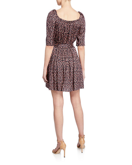 Rebecca Taylor Francesca Floral Square-Neck Short Dress