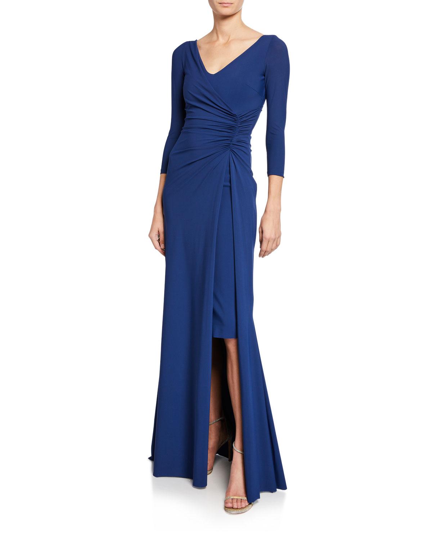 488573fef264c5 Chiara Boni La Petite Robe Piene V-Neck 3/4-Sleeve Gathered Overlay ...