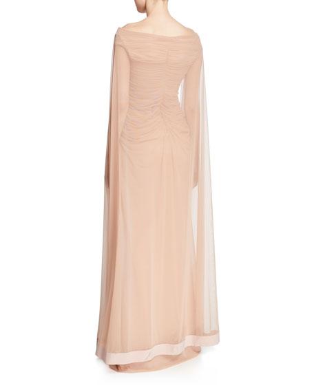 Chiara Boni La Petite Robe Aytana V-Neck Cap-Sleeve Illusion Gown w/ Ruched Bodice & Cape