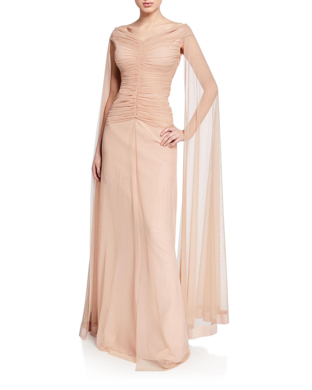 4268d75968b188 Chiara Boni La Petite Robe Aytana V-Neck Cap-Sleeve Illusion Gown w ...
