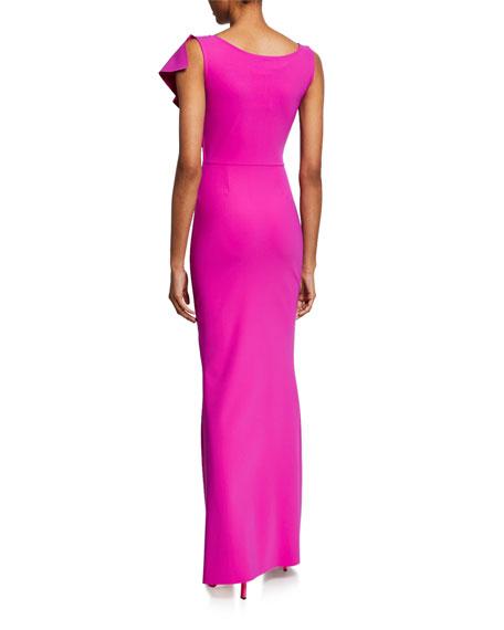 Chiara Boni La Petite Robe Boudicea V-Neck Sleeveless Center Ruffle Gown w/ Front Slit