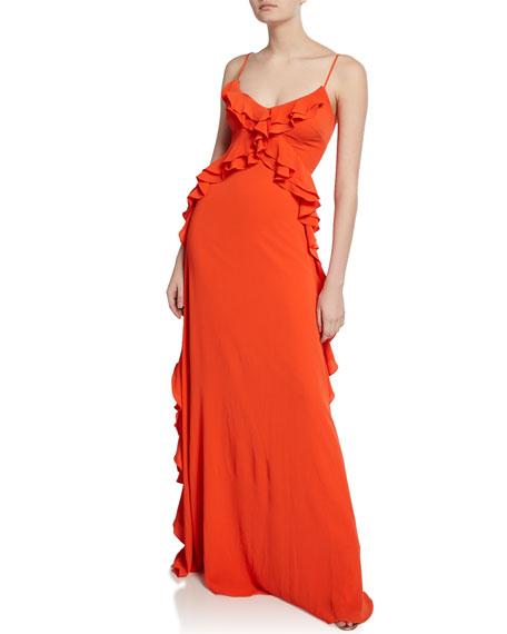 ZAC Zac Posen Ava V-Neck Spaghetti-Strap Cascading Ruffle Gown