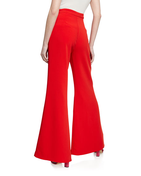 Likely James High-Rise Flare Pants w/ Button Details