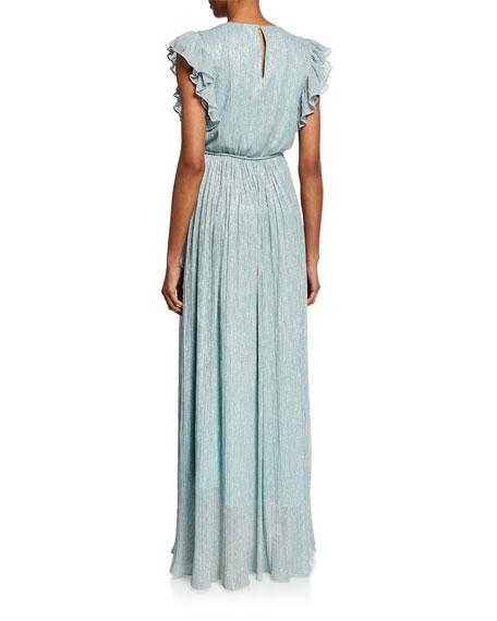 ZAC Zac Posen Samantha Crinkle Metallic Gown
