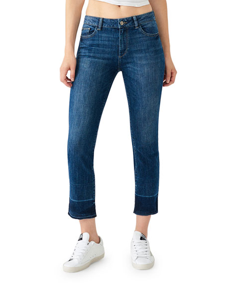 DL1961 Premium Denim Mara Ankle Mid-Rise Straight Jeans w/ Released Hem