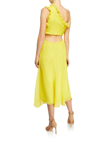 Image 2 of 2: cinq a sept Corinne Ruffled Cutout One-Shoulder Midi Dress