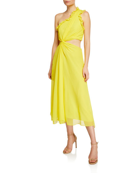 Image 1 of 2: cinq a sept Corinne Ruffled Cutout One-Shoulder Midi Dress